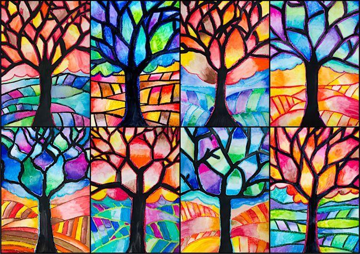 In diesem Mischtechnik-Gemälde verwendeten wir Ölpastelle und Aquarellfarben