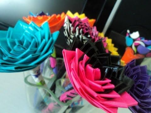 How To Make A Duct Tape Flower Pen - http://www.ducktapesale.com/how-to-make-a-duct-tape-flower-pen/