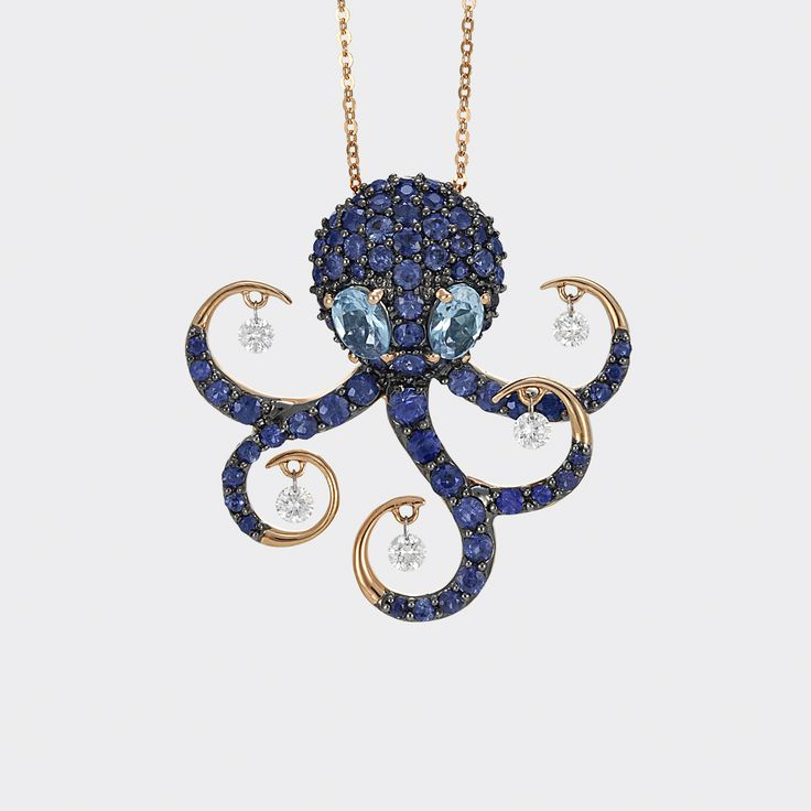 octopus pendant in rose gold with sapphires diamonds and topaz