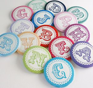 Bold Initial Personalised Badges - wedding favours