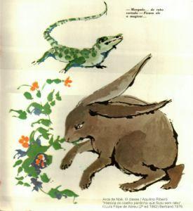 """(Arca de Noé, III classe; 3) """"História do coelho pardinho que ficou sem rabo"""" / Aquilino Ribeiro; Ilustrações de Luís Filipe de Abreu.Livraria Bertrand. (2ª 1962) reimpressão de 1976."""
