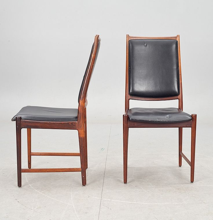 Torbjørn Afdal; Rosewood and Leather Dining Chairs for Bruksbo, c1960.