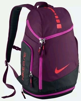 NIKE Hoops Elite Max Air Team Basketball Backpack Laptop Gym Bag BA4880 Mulberry