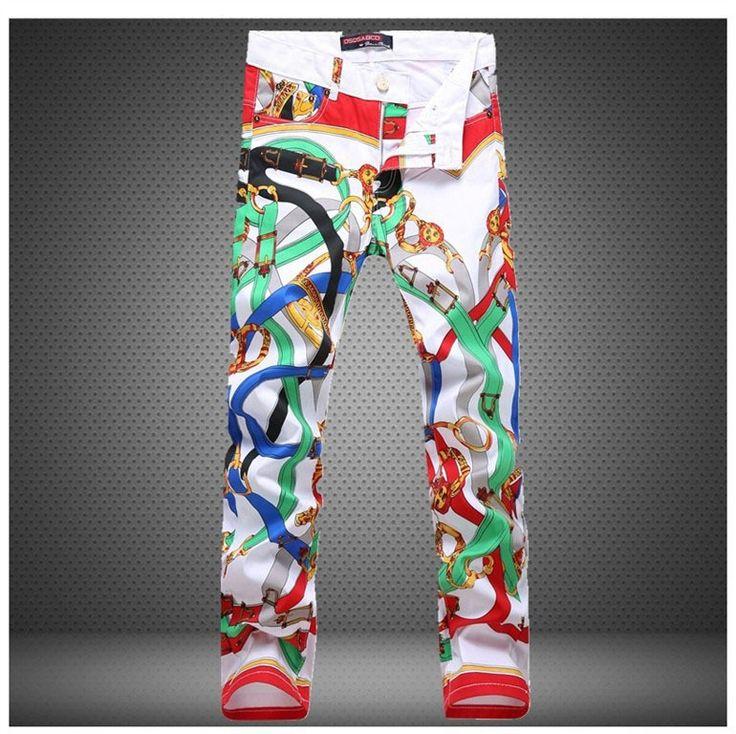 2016 fashion brand Hip hop men's casual Straight trousers Paint pop slim sexy slim Printed Nightclubs flower men white Pants