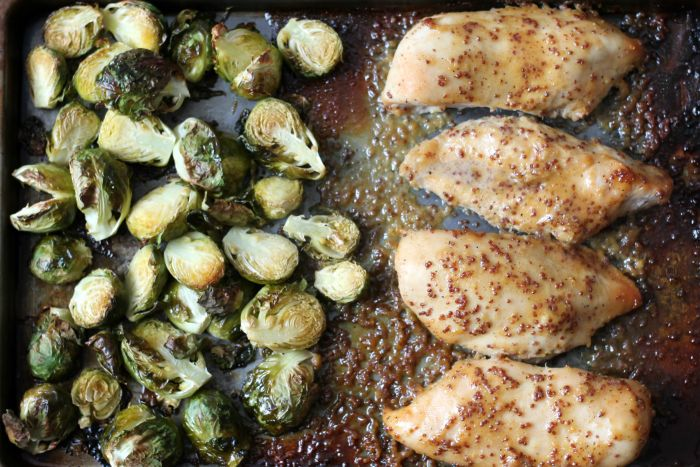Healthy one-pan baked honey mustard chicken with delicious roasted brussel sprouts. Sheet pan dinners are all the rage right now. Most of us have probably been making dinner this way for years but now that we have Pinterest we have a name for it…along with a million recipe variations. What did we ever do without …