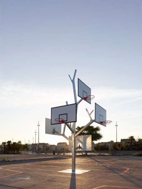 Basketball for the Whole Family: Playground, Funny Street, Alta Architects, A Lta Architects, Basketball Trees, Amazing Sculpture, Basketb Trees, Baskets Trees, Street Artworks