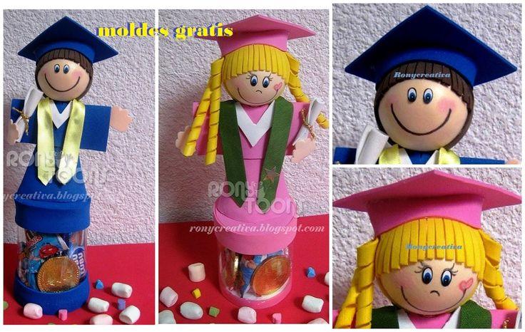 FOFUCHOS GRADUADOS - DULCEROS  Muñecos de foamy 3D / Ronycreativa