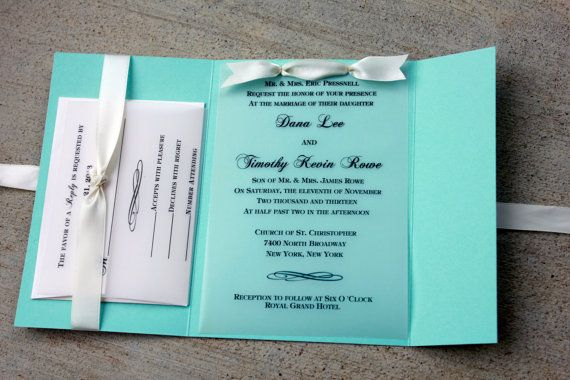 Robins Egg Blue Wedding Invitation Blue with White by SweetSights