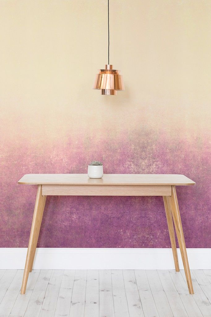 This is one of our favourite ombre wallpapers at Murals Wallpaper.  The beautiful peachy hues with purple tones brings a contemporary and feminine feel to your interiors. It looks perfect with copper finishes.