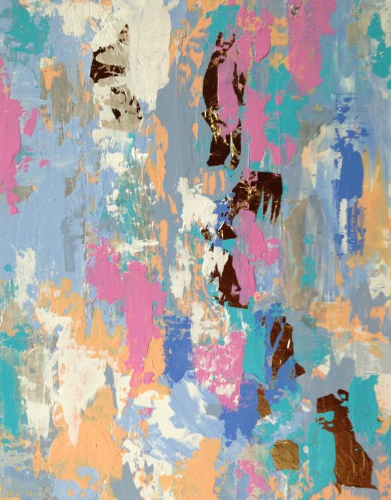 Sold.....    Pastel Abstract Painting with Gold Leaf by JenniferFlanniganart