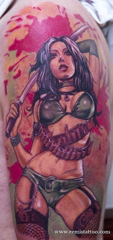 pin up girls tattoos | ... style of tattoo is the pin up girl updated for today s tattoo is this