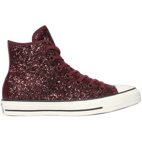 Converse Women Chuck Taylor Glittered High Top Sneakers ($91) ❤ liked on Polyvore featuring shoes, sneakers, bordeaux, converse trainers, rubber toe shoes, eyelets shoes, glitter high top sneakers and hi tops