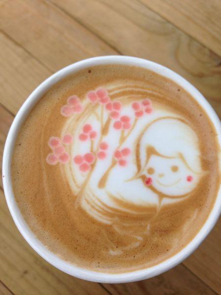 SAKURA Cappuccino, Latte Art by Cafe Hidari Pocket (Nakameguro, Tokyo) |桜カプチーノ