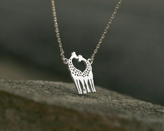 Cute Giraffe heart neck necklace. Choose your color.  Gold or Silver. DoubleBJewelry, DoubleB, Double B.