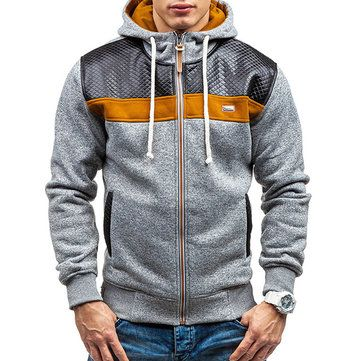 Fashion Mens Cashmere Cardigan Hoodie Sweater Casual Splicing Zipper Sport Hoodies at Banggood
