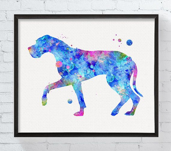 Great Dane Art Great Dane Print Watercolor Great by MiaoMiaoDesign