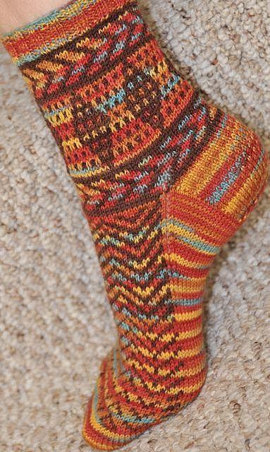 Mosaic Knitting Southwestern Sock side by languagegeek