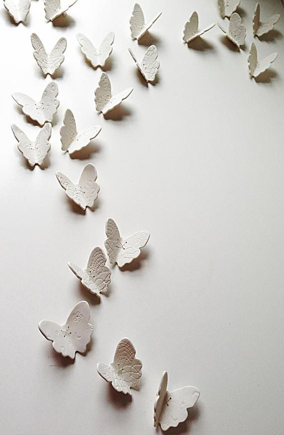 Large Wall Art 15 Porcelain 3d Butterflies White Butterfly