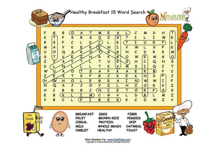 Healthy Breakfast Word Search Answer key Nutrition