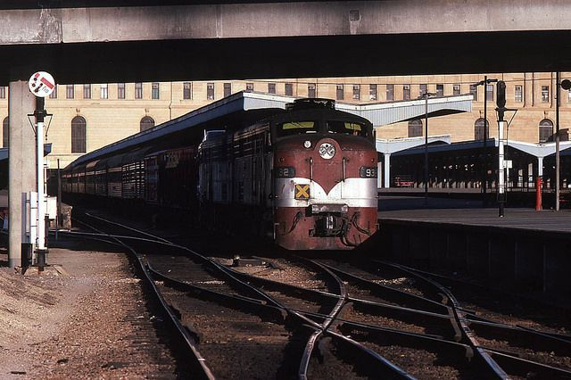 Overnight Overland broad gauge service to Melbourne waiting to depart the Adelaide Railway Station. Taken sometime towards the end of 1982, there is no chance whatsoever of a view like this today.