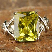 Venta al por mayor sublimado exquisito esmeralda Cut verde amatista 925 anillo de plata tamaño 7 nueva joyería 2014 para mujeres