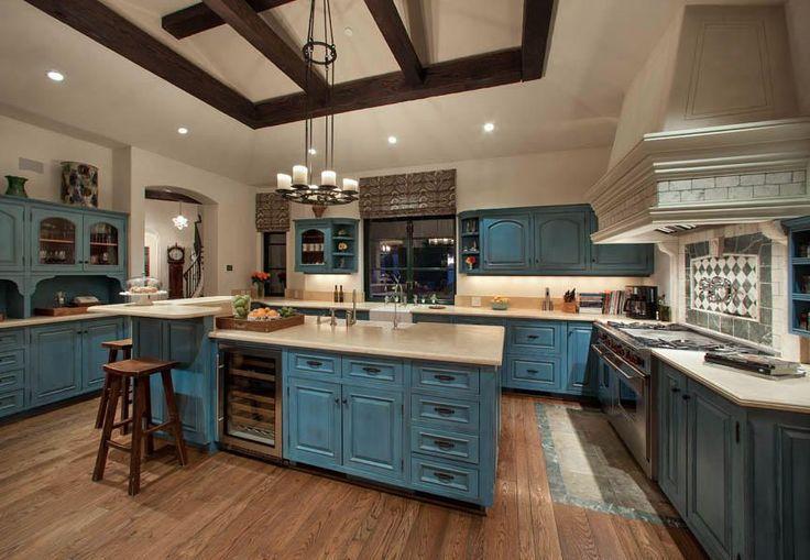 Craftsman Kitchen with Raised panel, Flat panel cabinets, Wine refrigerator, Breakfast bar, Kitchen island, U-shaped