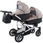 Bebetto 42 Tandem Pram 2 Carrycots LO silver 148 beige - Collection 2016