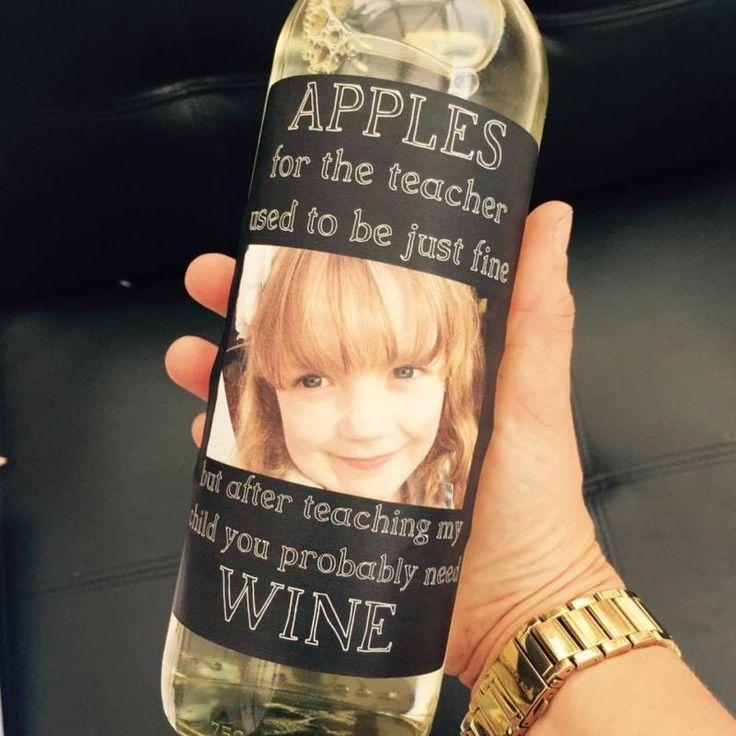 4 Apples for the teacher wine bottle labels, Novelty Teacher, FUNNY UNIQUE GIFT