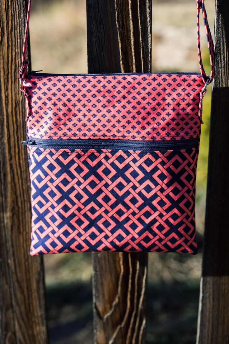 Bella Crossbosy Bag Medium Purse Travel Bag Sling Bag Navy Dark Coral by TuesdayNights on Etsy
