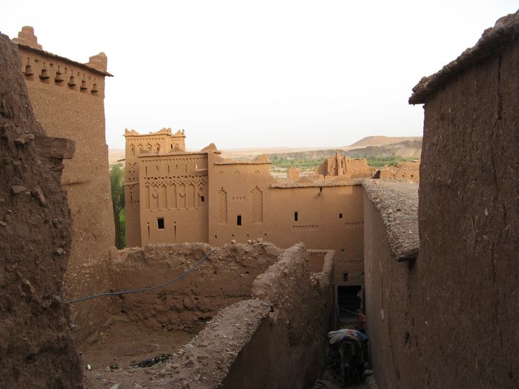 Houses in Ait Benhaddou built of mud brick, a traditional Marrocian construction