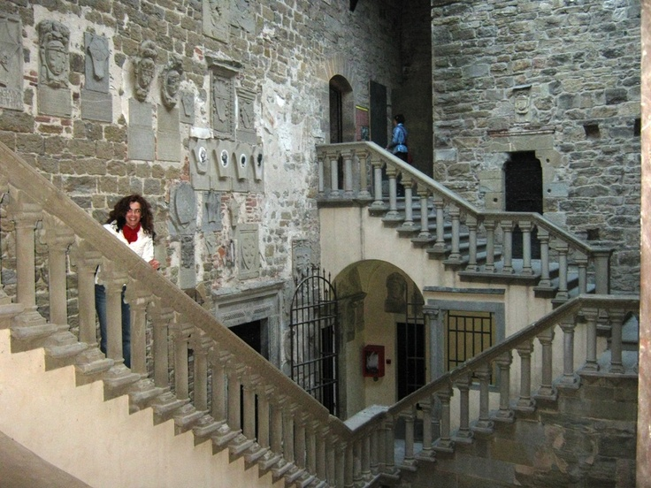 Walking up the scenic stairs of the Poppi castle in Casentino