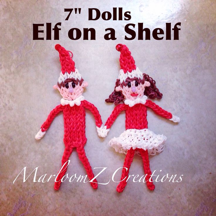 Elf on The Shelf - Boy and Girl Elves made out of Rainbow Loom rubber Bands.