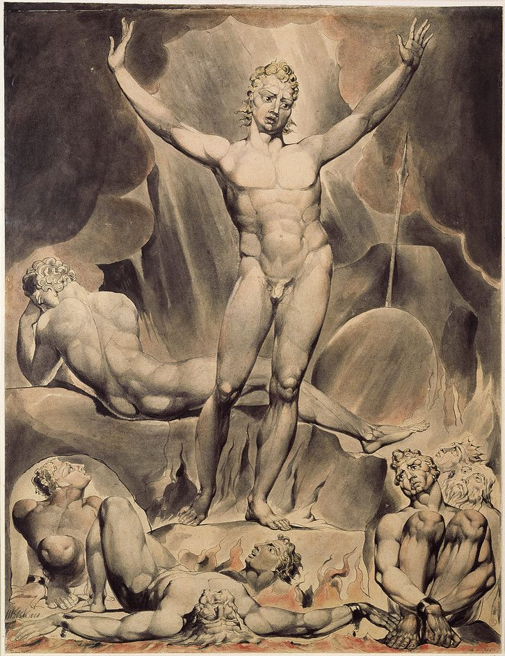 Satan Arousing the Rebel Angels by William Blake from his illustrations of Paradise Lost, 1807.