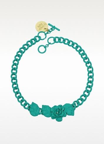 Patrizia Pepe Rhinestone Flower Chain Necklace