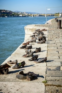 Budapest, Hungary  A shoe memorial in memory of the Jewish people that were killed