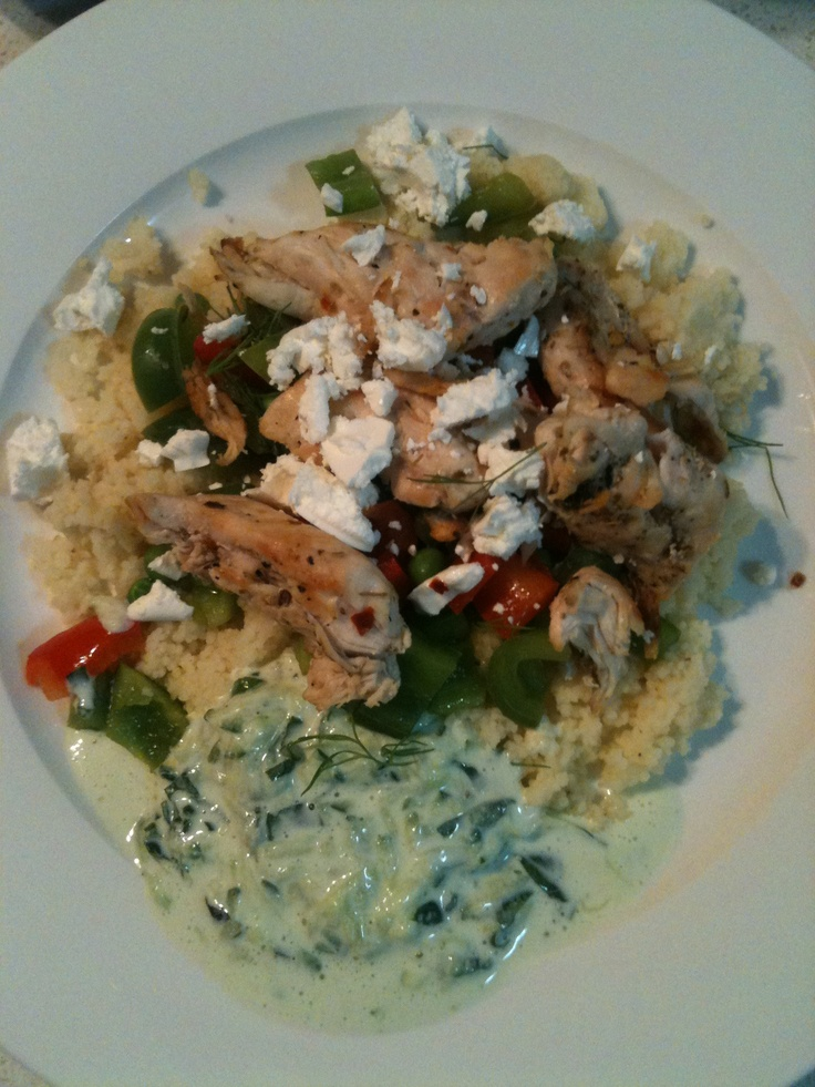 Jamie's 15 Minute Meals! Gorgeous greek chicken with herby vegetable couscous & tzatziki