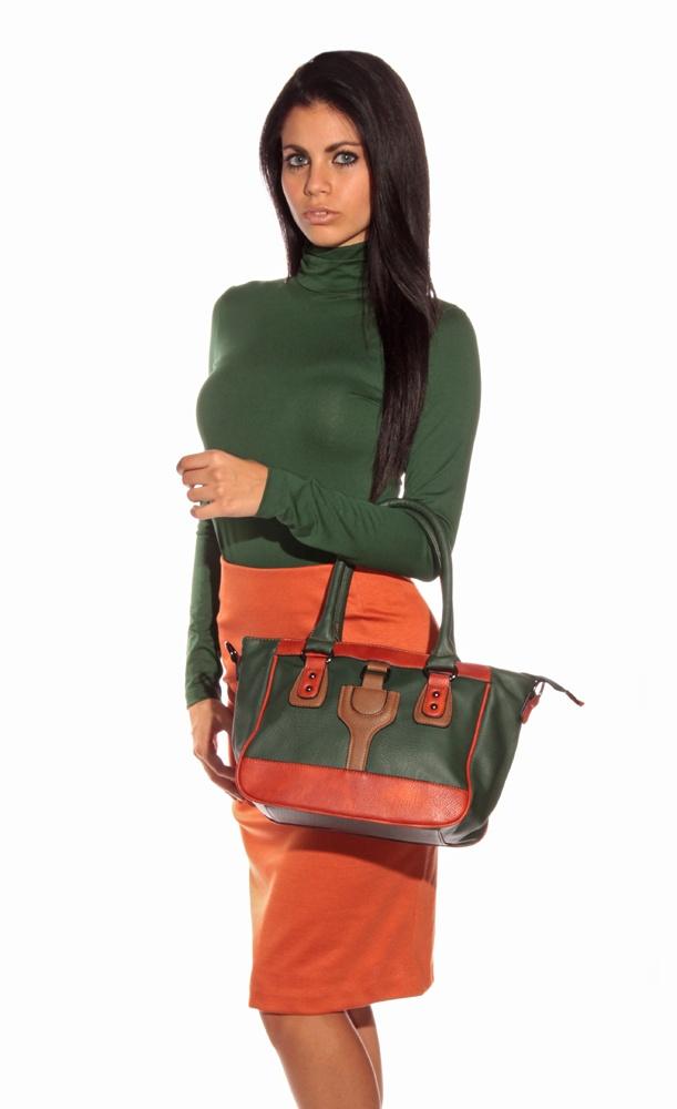 green turtleneck sweater + orange skirt