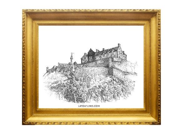EDINBURGH CASTLE print from original ink hand by shopLAYOUTLINES