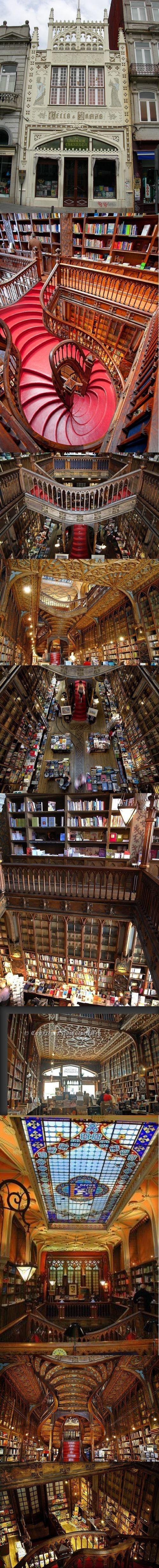 Inside amazing bookshopnLivraria llello  Iirmão in Porto, Portugal  (via classiclibrarian)