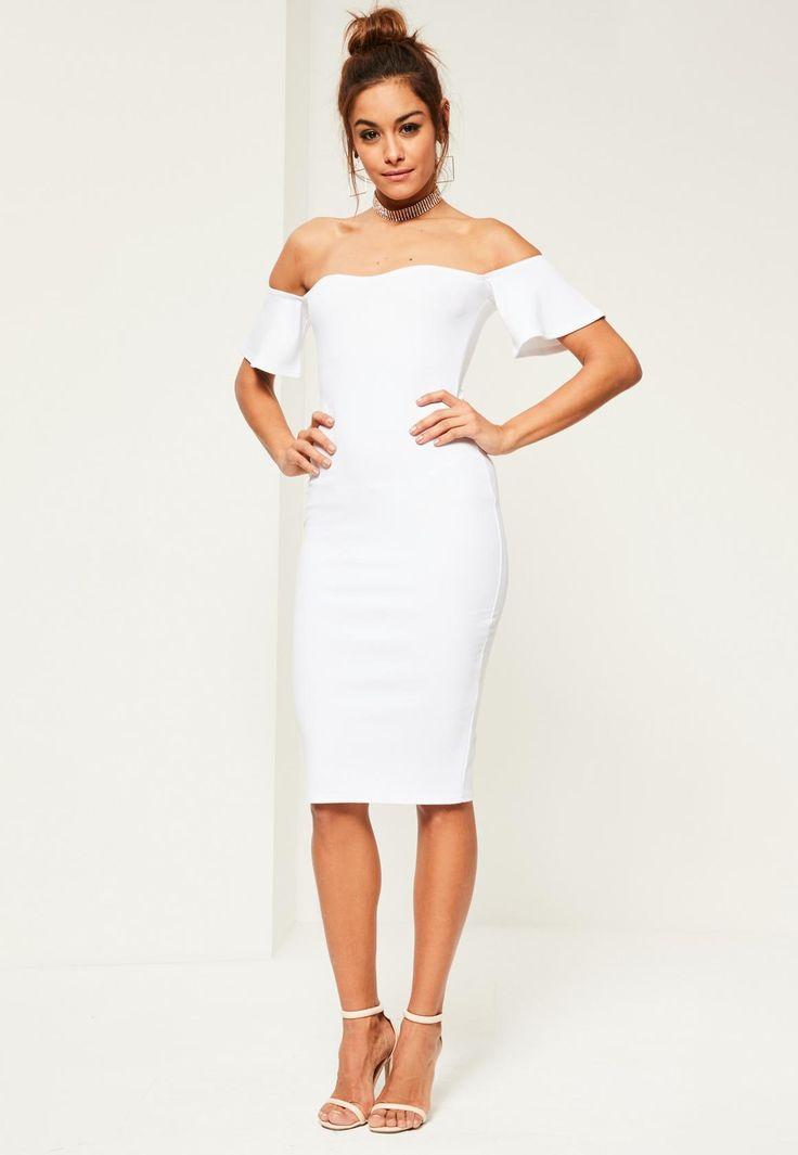 Missguided - White Bardot Bodycon Midi Dress