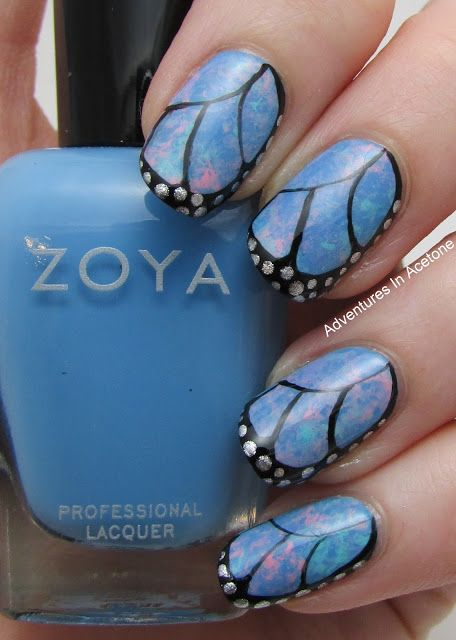 Adventures In Acetone Butterfly Wing Saran Wrap Nail Art!