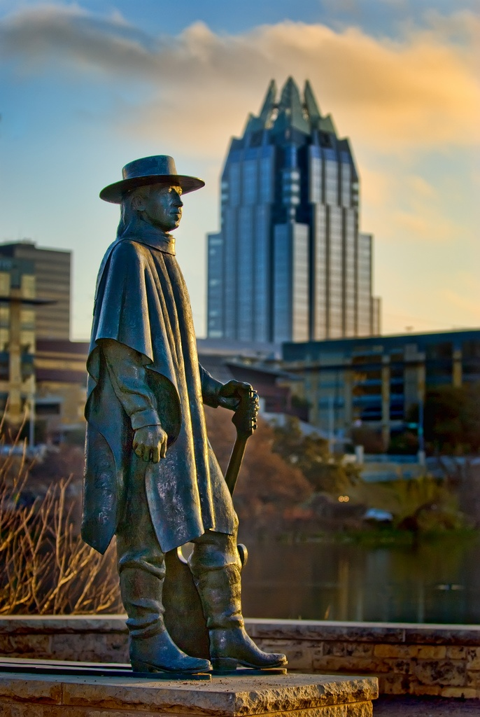 Stevie Ray Vaughn statue on banks of Town Lake in Austin.  Dallas boy who made Austin music famous. Greatest ever.