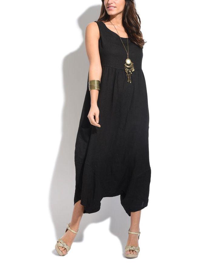 Black Linen Harem Jumpsuit - Women