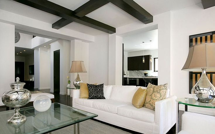 comely minimalist living room furniture. Image for Comely Minimalist White Living Room with Black Beam Ceiling Above  liv0140 Home Design Pinterest ceilings Beams and