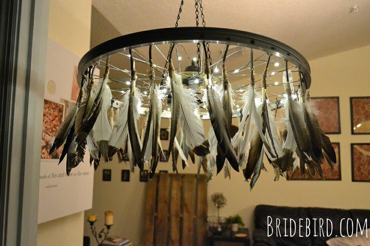 DIY recycled bike wheel chandelier.  P.S. FRIENDS, I MADE THIS : ) #bridebird
