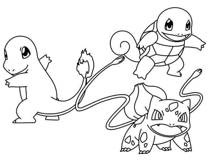 Squirtle Bulbasaur Pokemon Coloring Pages Display