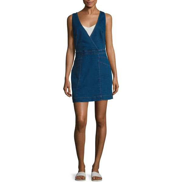 Free People Women's Surplice Overall Denim Sheath Dress - Blue, Size M ($65) ❤ liked on Polyvore featuring dresses, blue, v neck evening dress, blue cocktail dresses, sheath dresses, holiday dresses and v neck cocktail dress