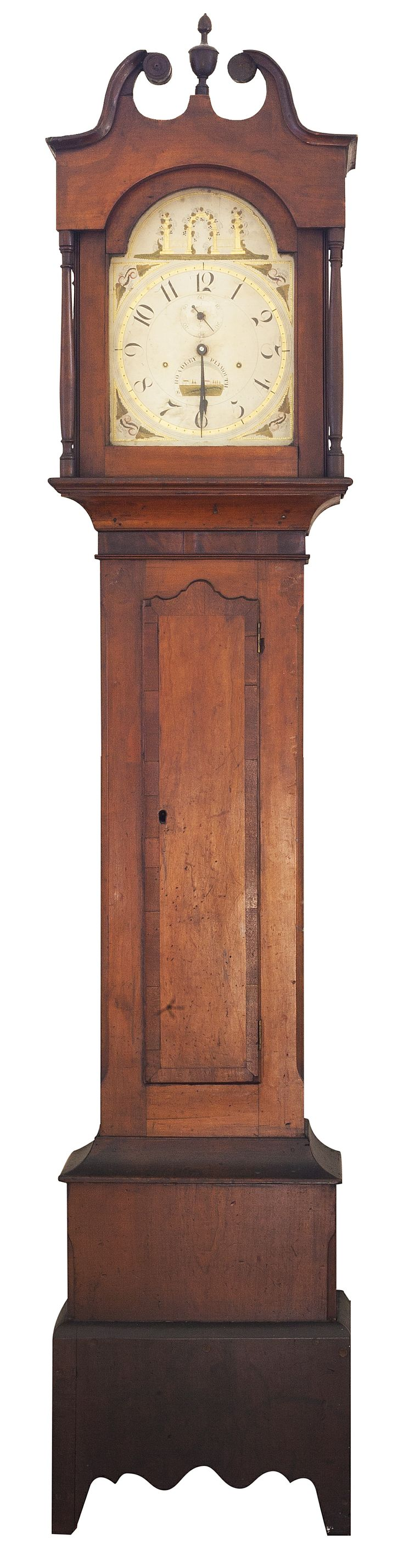 Tall Clock, case attributed to Elijah Warner, cherry with mahogany veneer, ca.1820, Lexington. Face by S. (Silas) Hoadley-Plymouth, Connecticut.