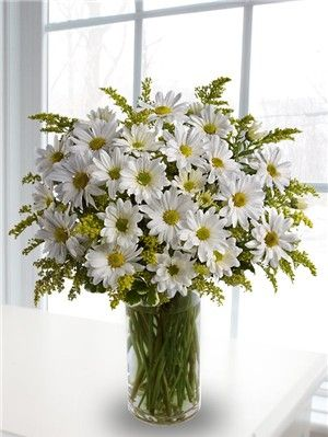 """Simple white daisy arrangement with golden rod for some yellow """"pop"""".  Would look simple & cheery in mason jar with burlap or raffia ribbon."""