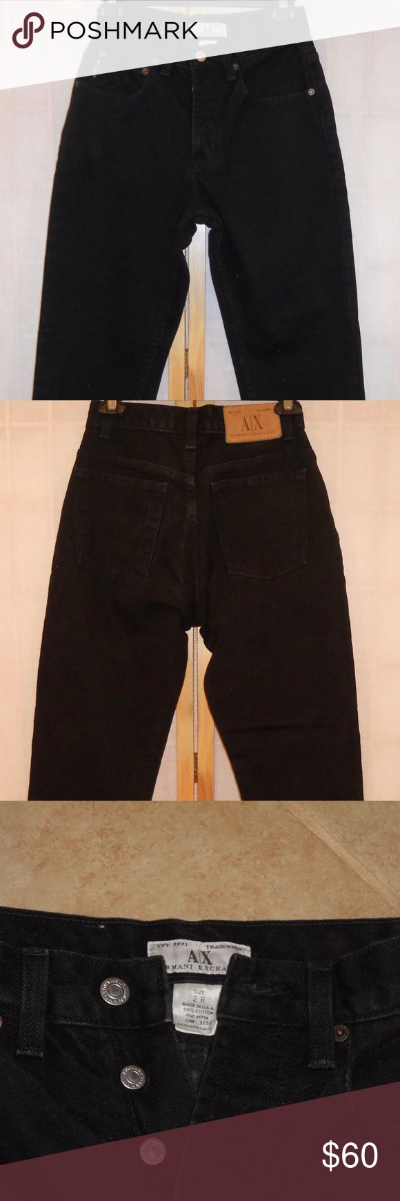 """Black A/X Armani Exchange Mom Jeans Size 2R A/X Armani Exchange 2R black jeans. Made in the USA. 100% cotton. There's no zipper for closure but 4 buttons instead; 5 pockets. Straight leg/boot cut, high-waisted. Waist: approx. 26"""", rise: 10 ½"""", inseam: 29"""", length: 39"""", cuff width: 13"""" Super stylish and versatile pair of black jeans! These go great with any top or shoes! Used – not jet black like as new but no tears, frays, etc. A/X Armani Exchange Jeans Straight Leg"""